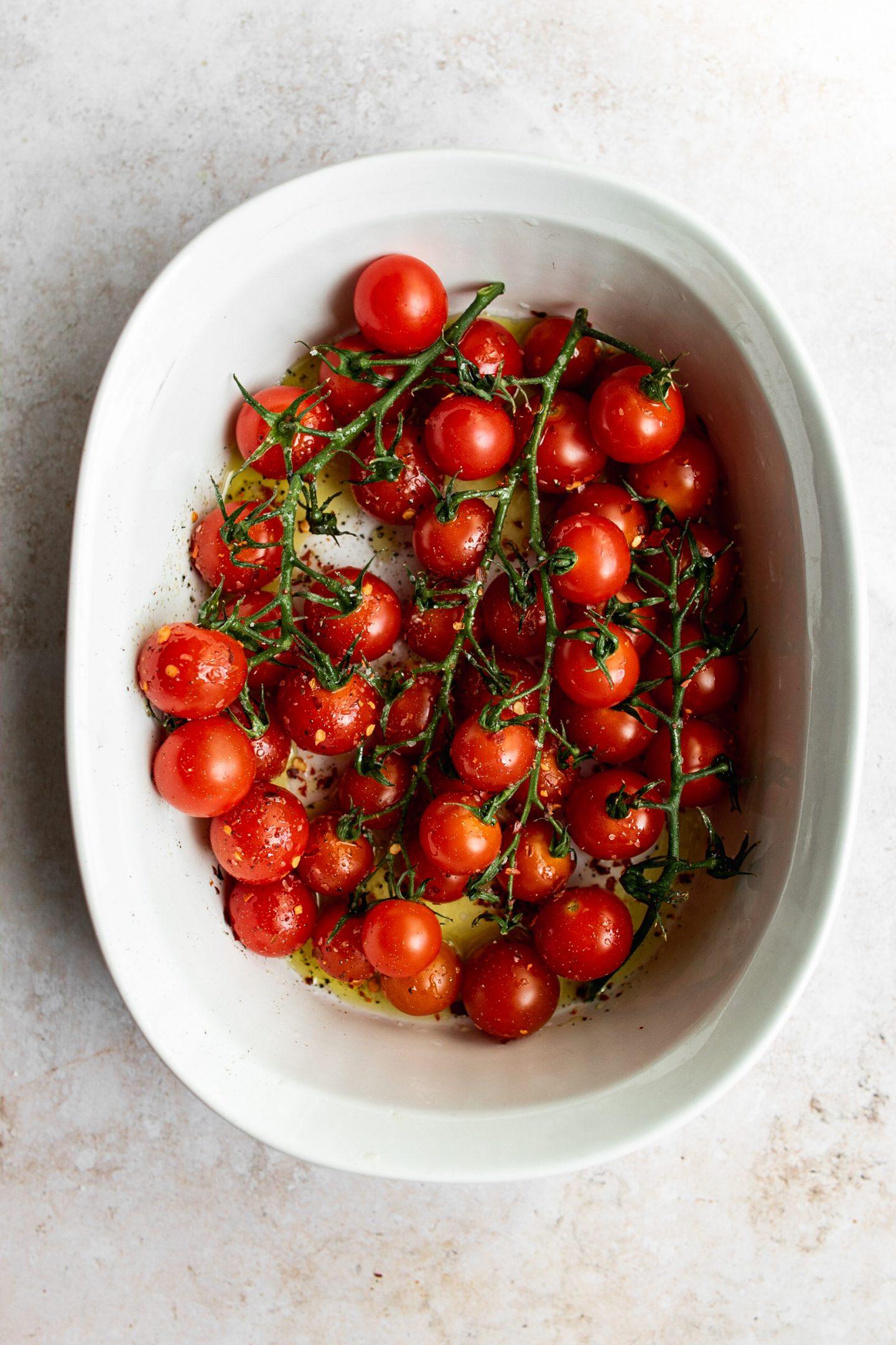 baby vine tomatoes in roasting pan
