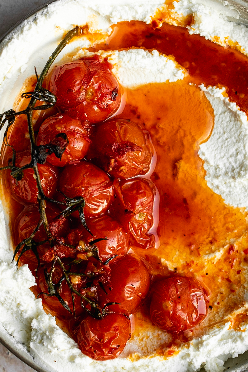 close up of harissa roasted tomatoes over labneh