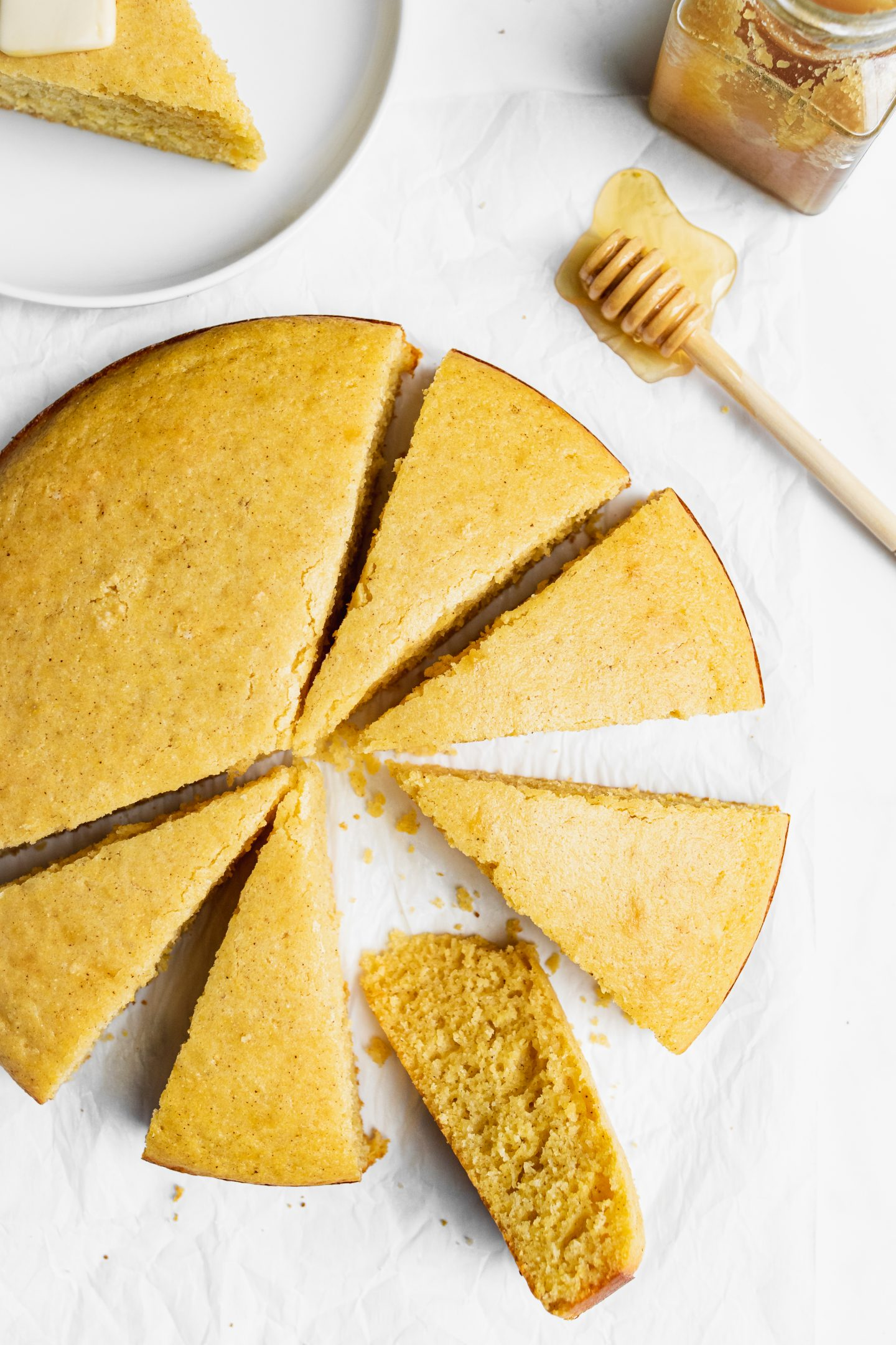 brown butter corn bread cut in pieces
