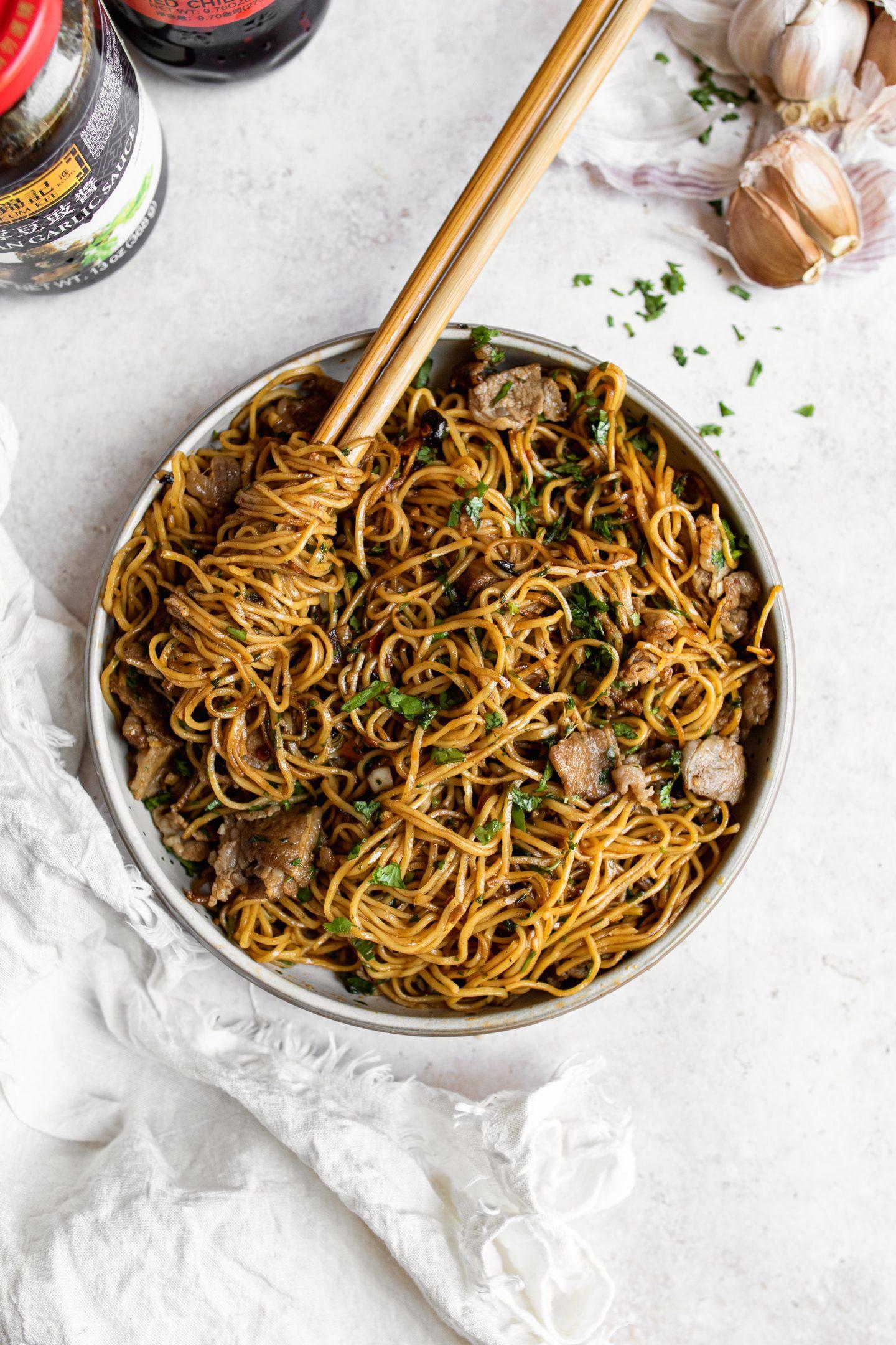 bowl of chili garlic noodles