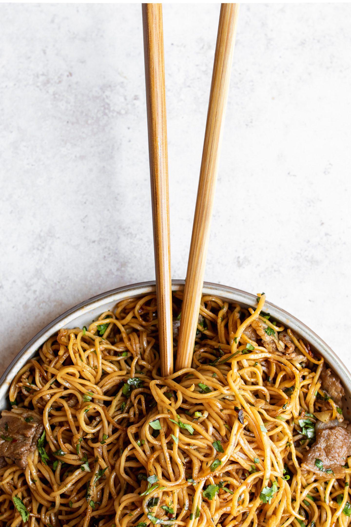 black bean garlic chili noodles in a bowl
