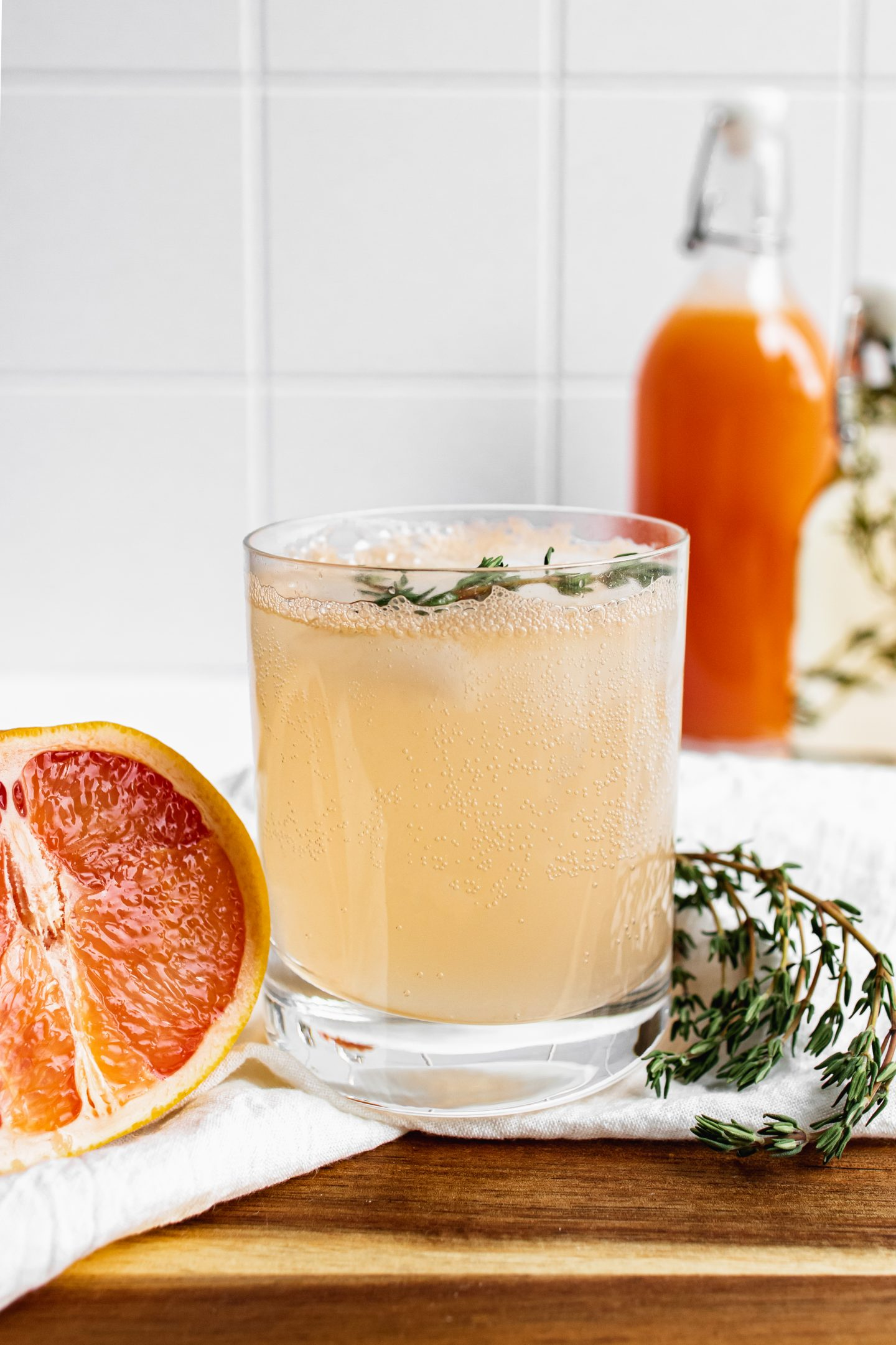 grapefruit cocktail in glass