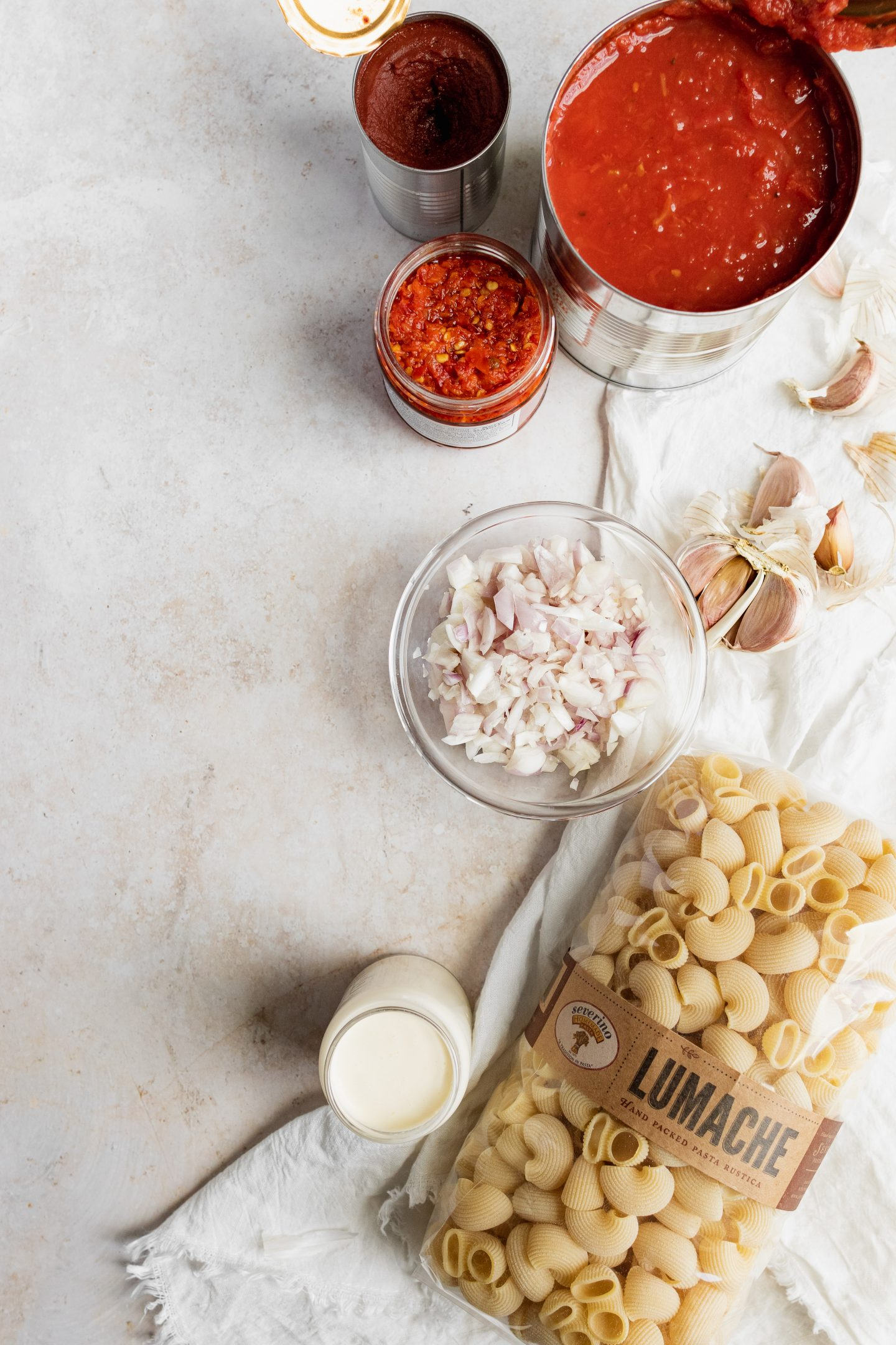 ingredients for spicy rigatoni