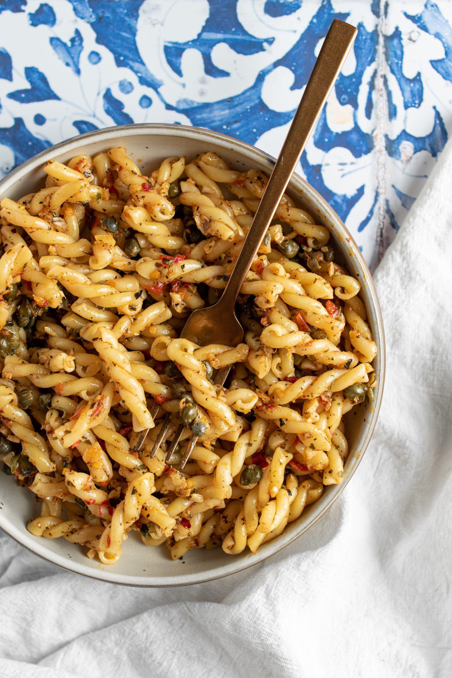 bowl of spicy caper pasta