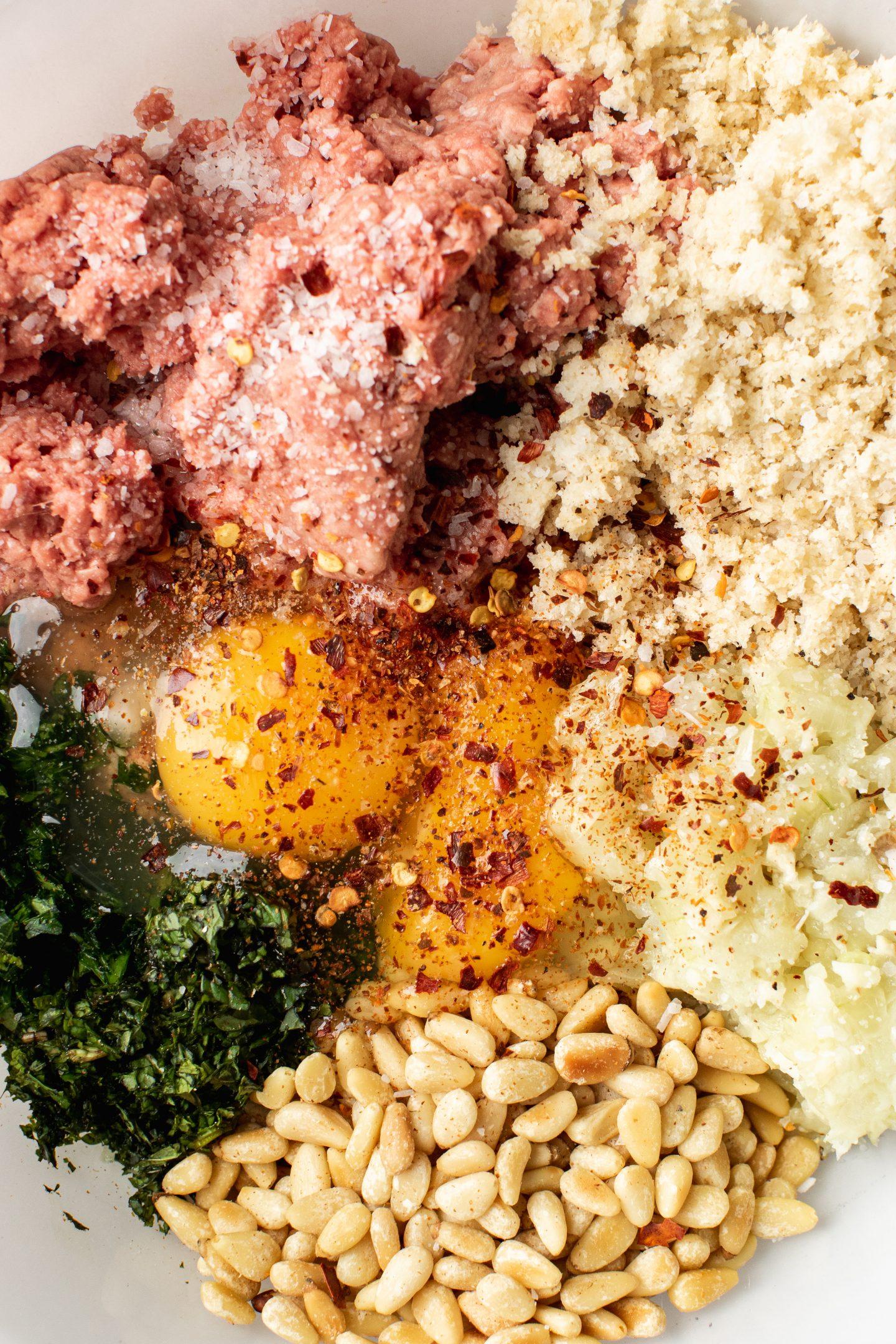 Ingredients for lamb meatballs