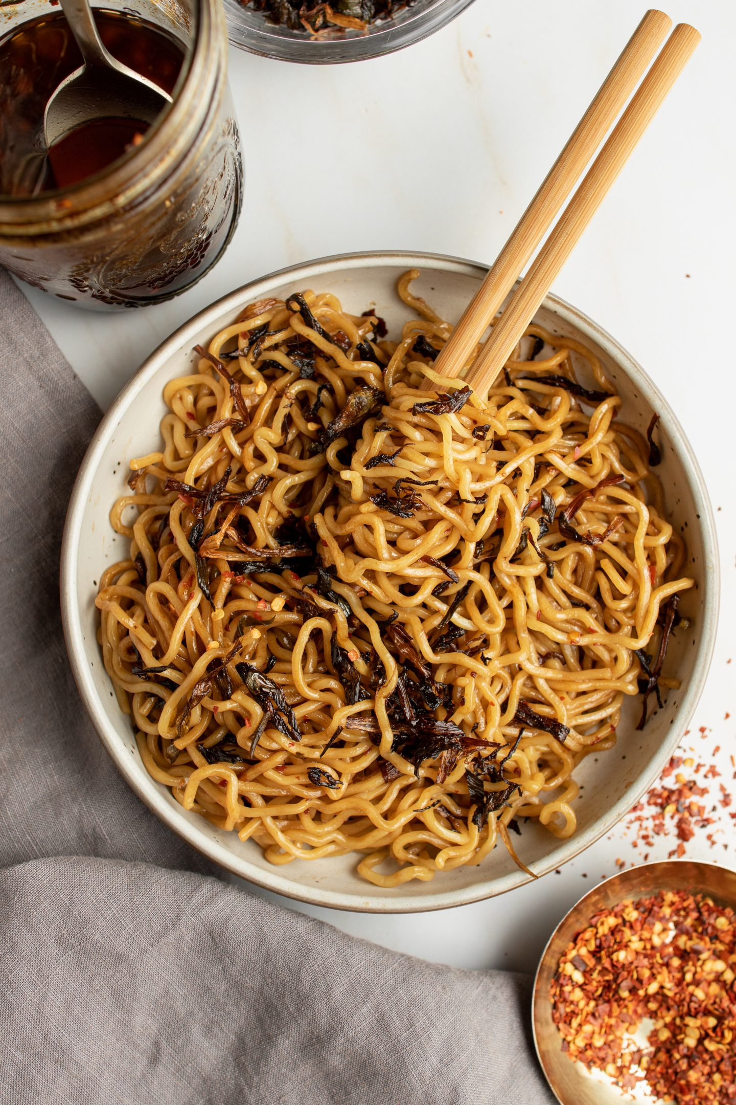 bowl of spicy scallion oil noodles